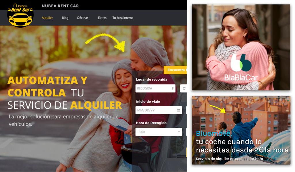 consejo sobre la comunicación de un sitio web de una empresa de alquiler de coches
