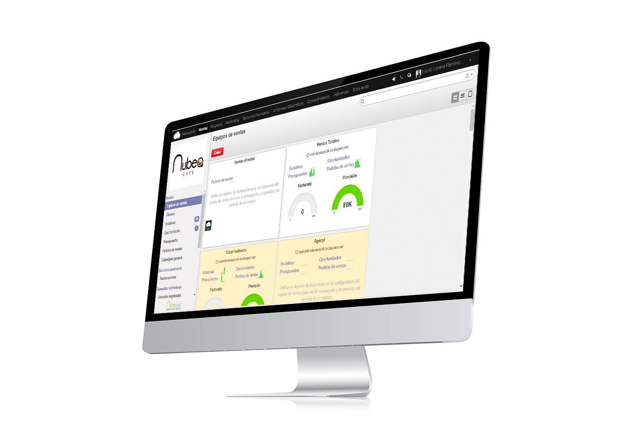 software para la fabricación de café y té - pantalla nubea cafe